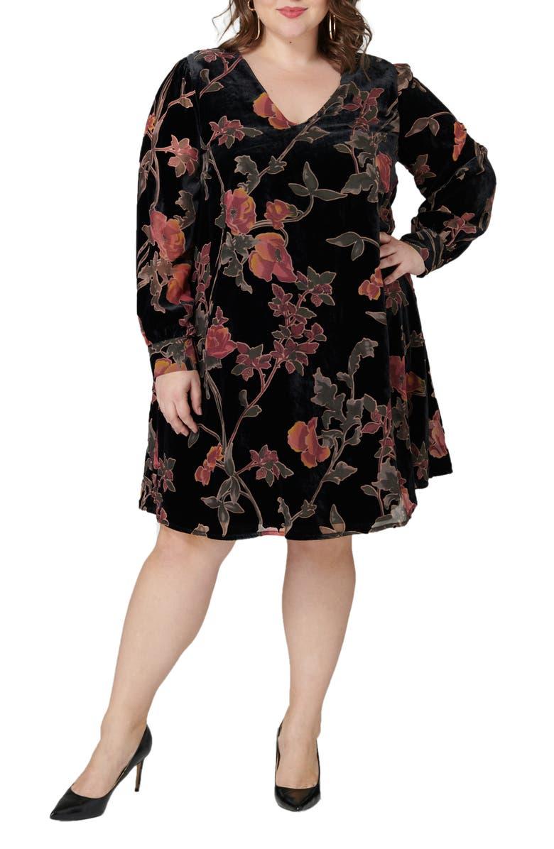 MARÉE POUR TOI Floral Print Long Sleeve Trapeze Dress, Main, color, BLACK WITH FLORAL PRINT