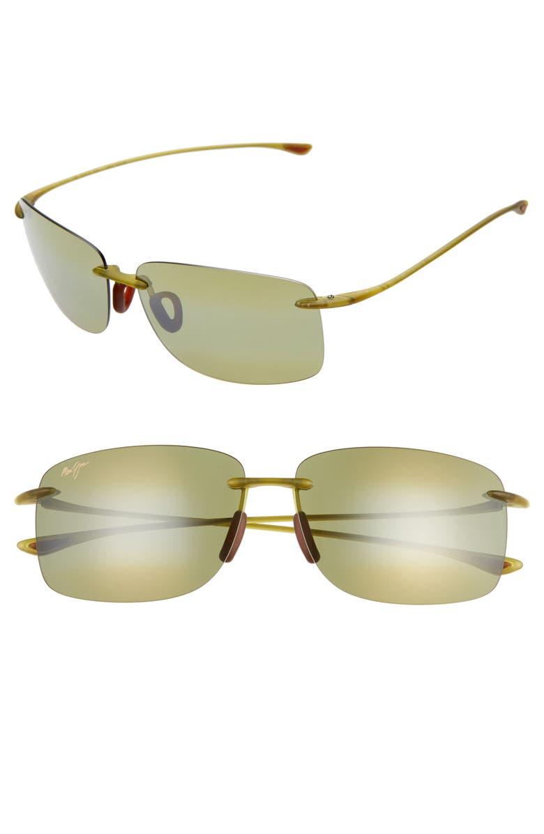 MAUI JIM Hema 62mm PolarizedPlus2<sup>®</sup> Oversize Rimless Sunglasses, Main, color, MATTE OLIVE/ GOLD