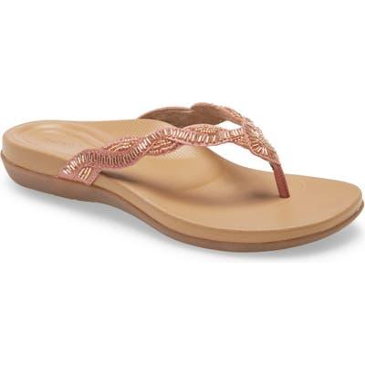 Aetrex Brandy Beaded Flip Flop, Pink