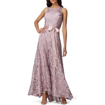 Petite Tahari Soutache Sleeveless A-Line Gown, Pink