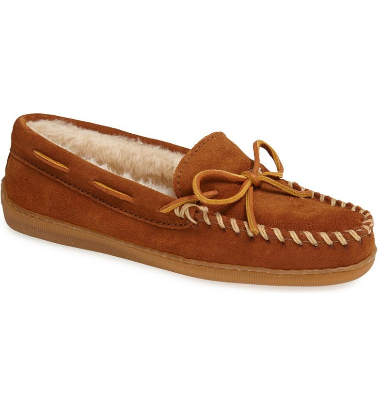 MINNETONKA Moccasin Slipper, Main, color, BROWN