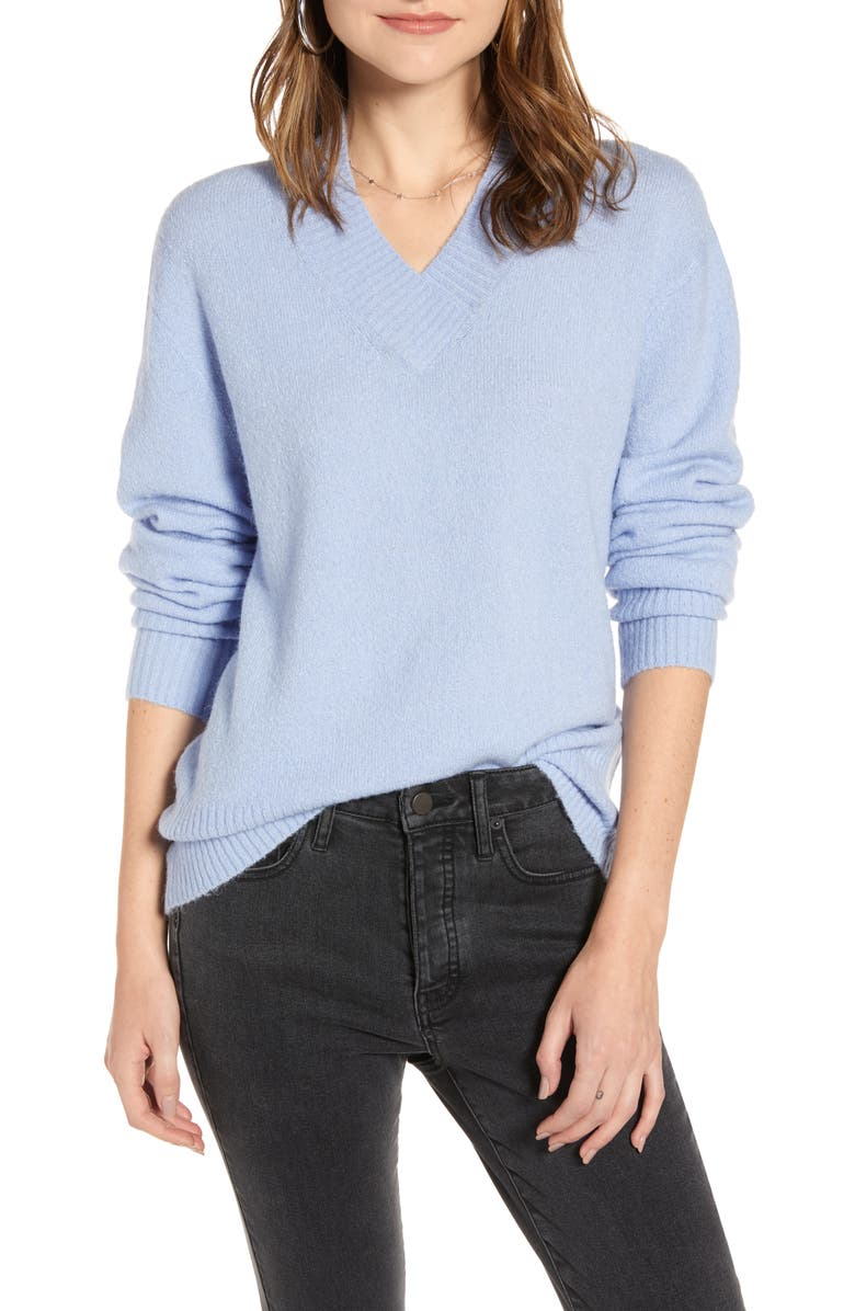 TREASURE & BOND Cozy V-Neck Sweater, Main, color, BLUE STORK