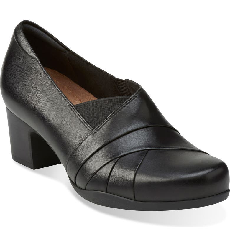 CLARKS<SUP>®</SUP> 'Rosalyn Adele' Block Heel Pump, Main, color, BLACK LEATHER