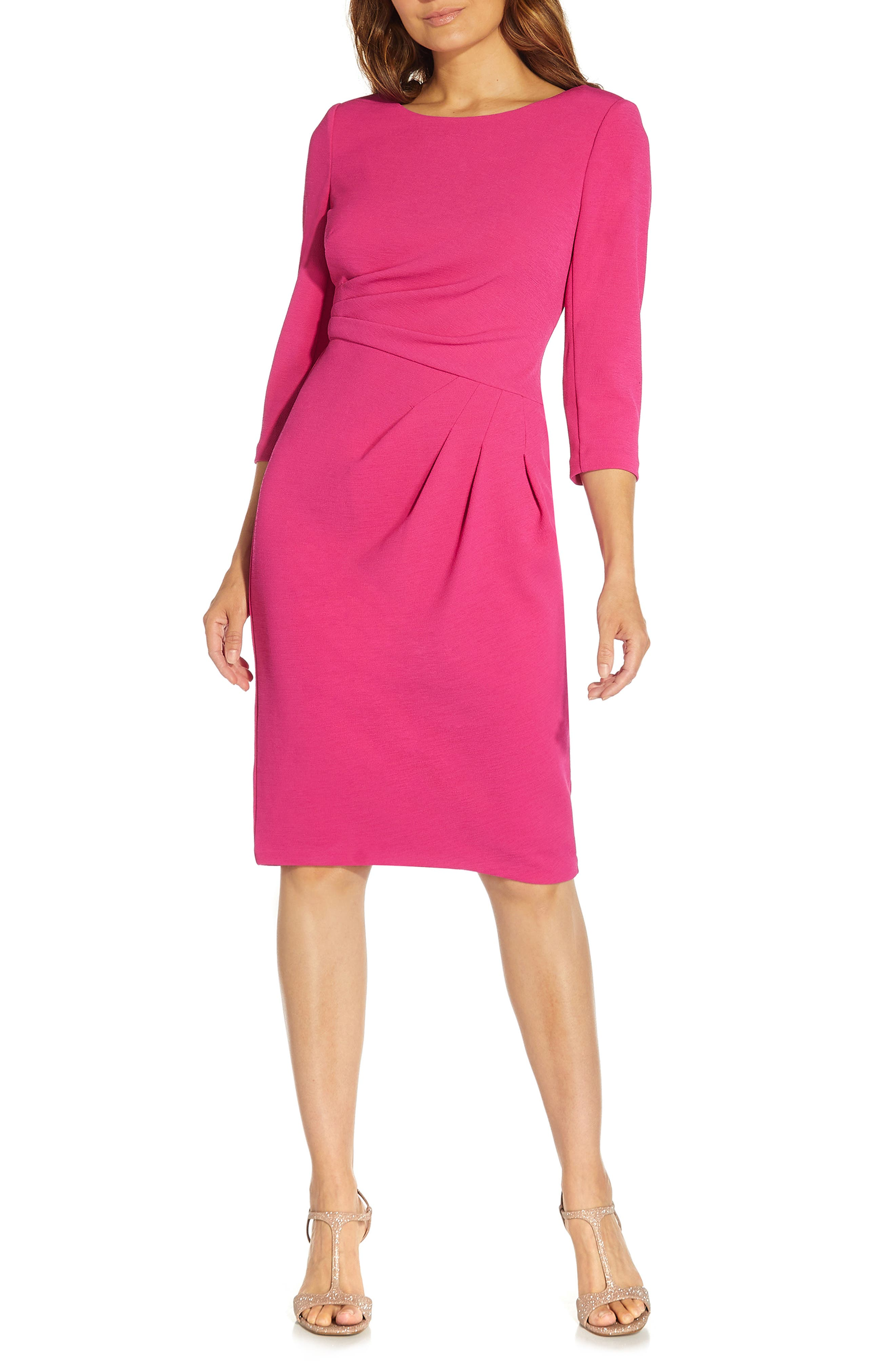 80s Dresses | Casual to Party Dresses Womens Adrianna Papell Rio Drape Knit Sheath Dress Size 16 - Pink $139.00 AT vintagedancer.com