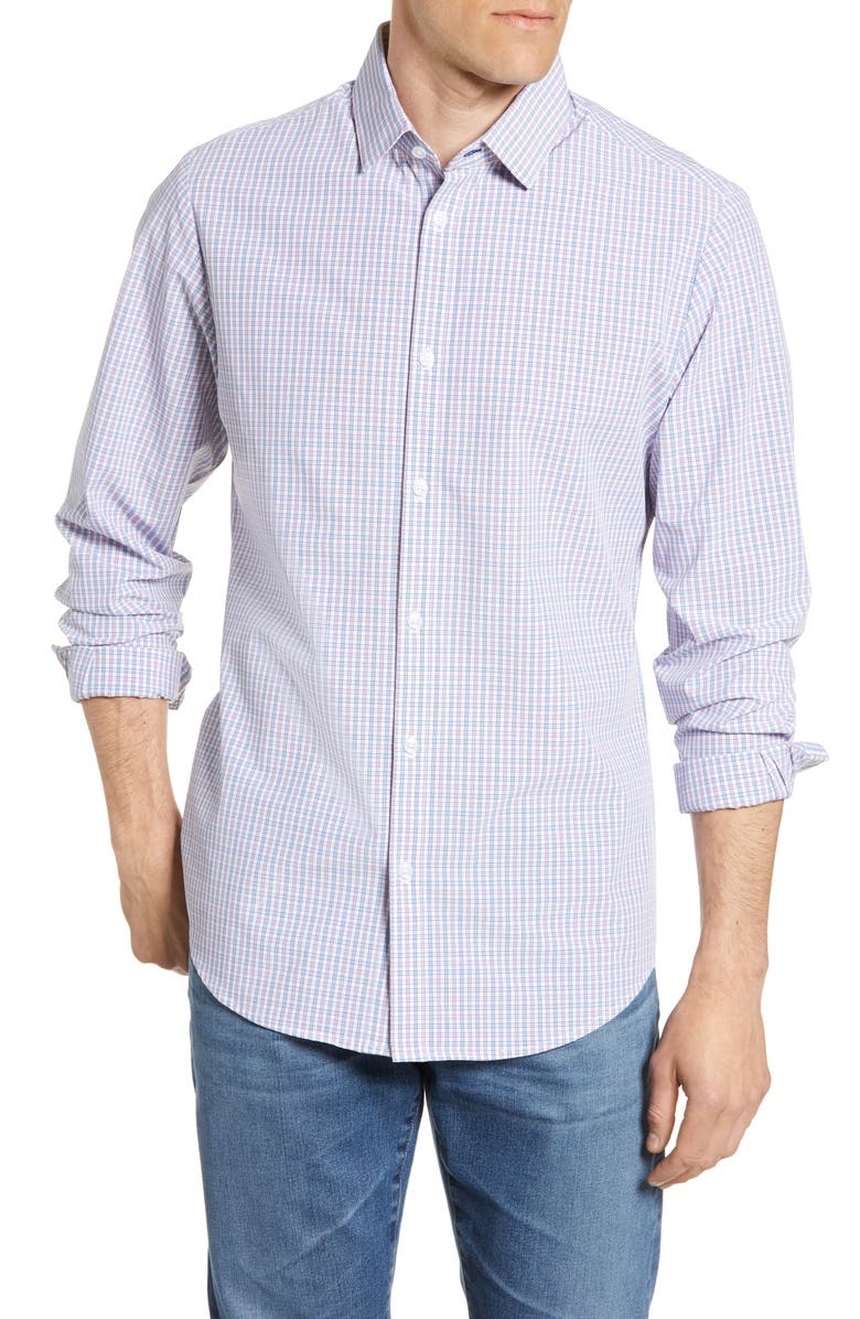MIZZEN+MAIN Easton Trim Fit Check Performance Button-Up Shirt, Main, color, BLUE