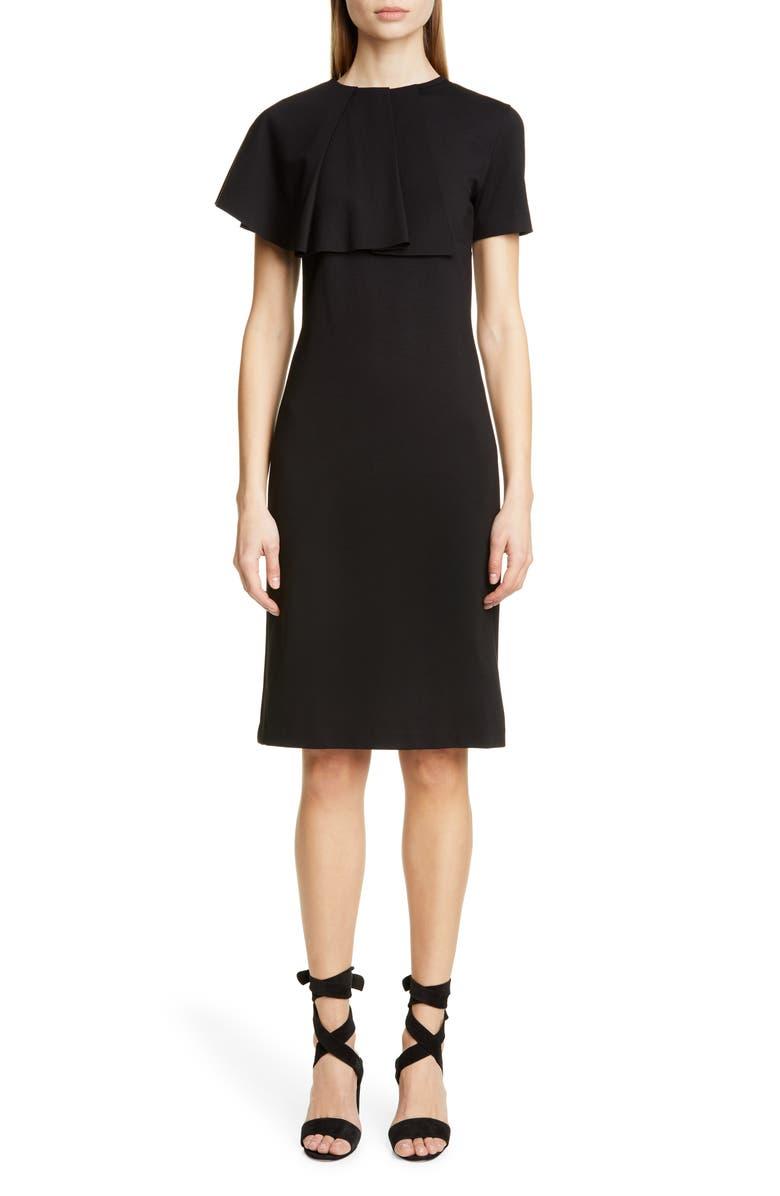 FUZZI Ruffle Bodice Sheath Dress, Main, color, BLACK