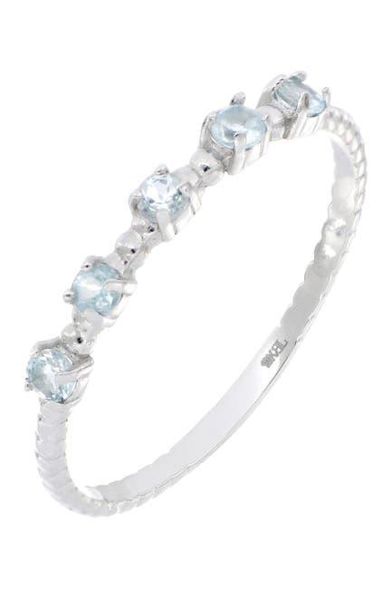 Image of Bony Levy 18K White Gold 5 Aquamarine Stack Ring
