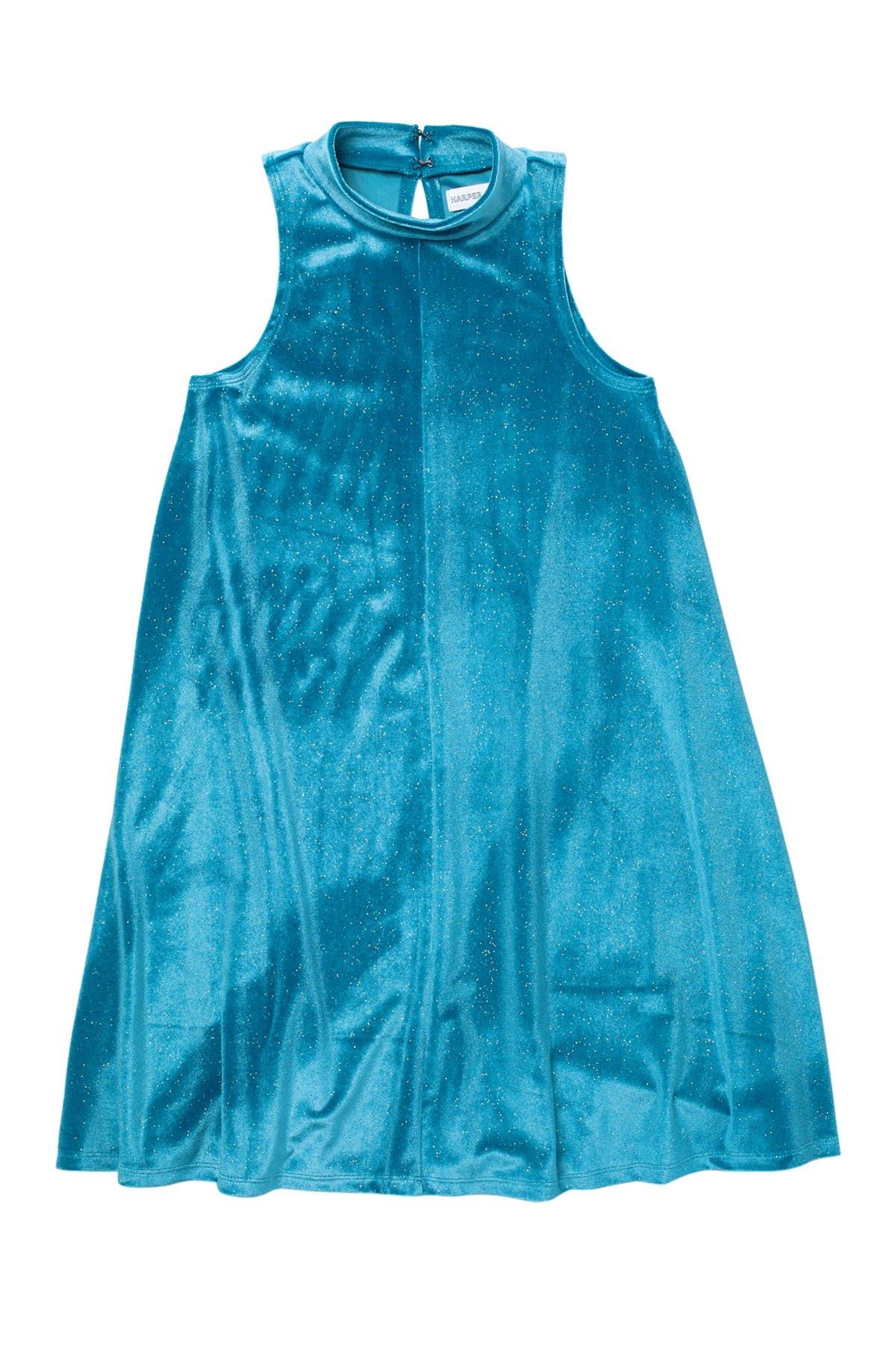 Image of Harper Canyon Mock Neck Sparkle Velour Dress