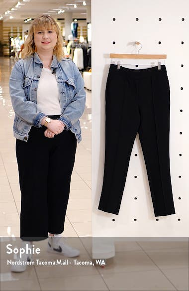 Pintuck Stretch Crepe Skinny Pants, sales video thumbnail