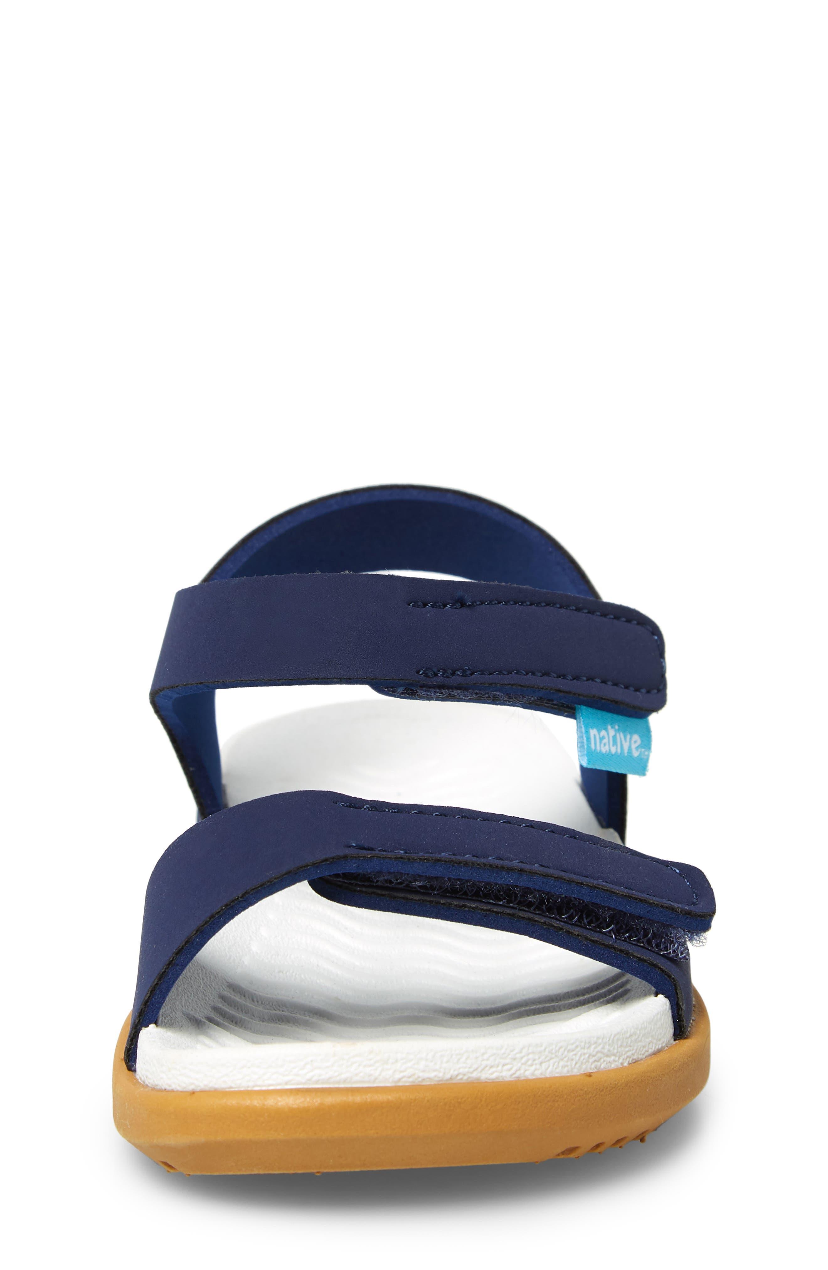 ,                             Charley Child Waterproof Flat Vegan Sandal,                             Alternate thumbnail 4, color,                             REGATTA BLUE/ WHITE/ BROWN
