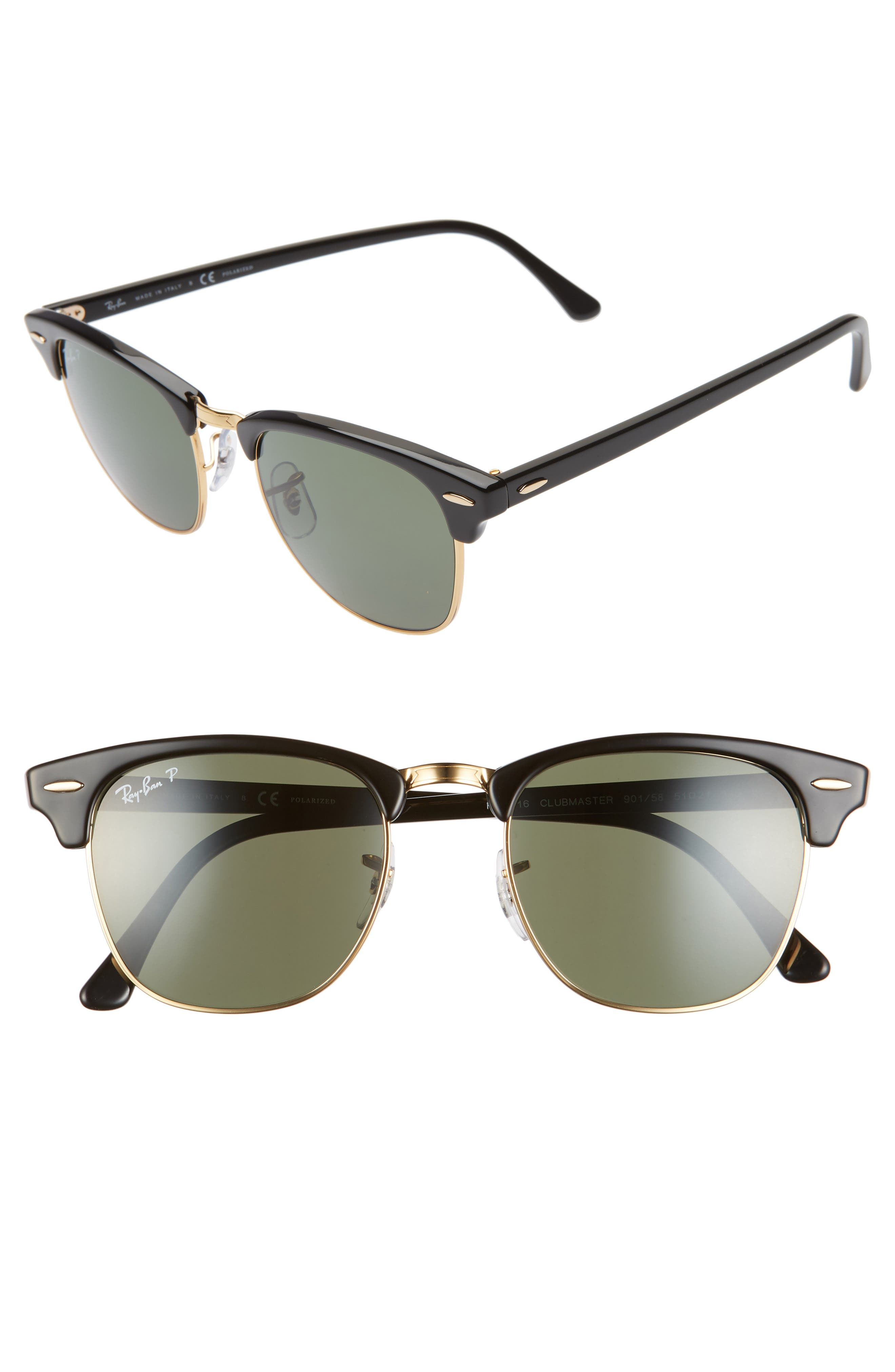 Ray-Ban Clubmaster 51Mm Polarized Sunglasses - Black