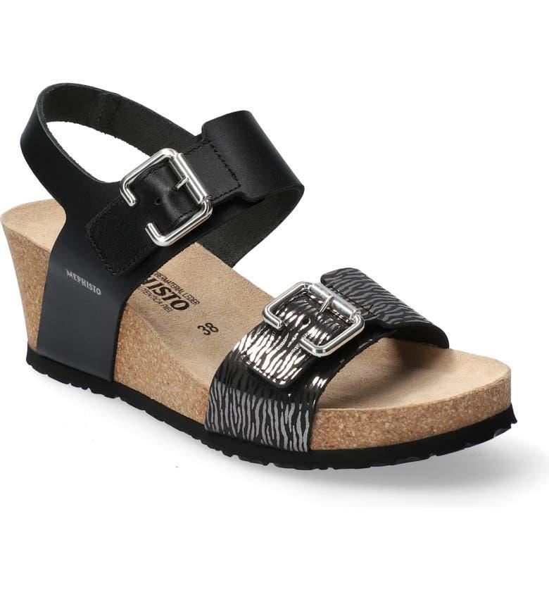 MEPHISTO Lissandra Platform Wedge Sandal, Main, color, BLACK LEATHER