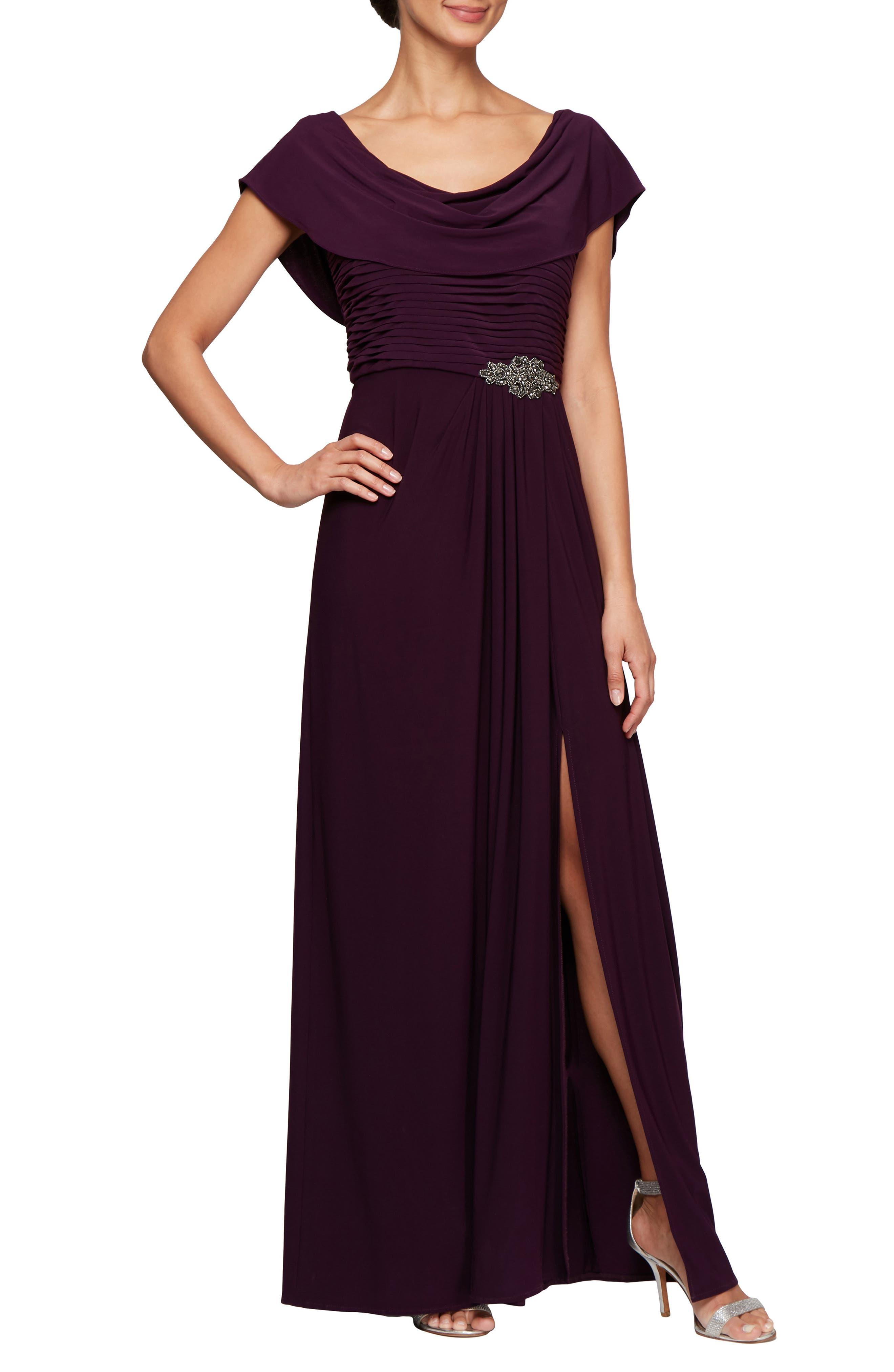 Alex Evenings Cowl Neck Beaded Waist Gown (Regular & Petite)   Nordstrom