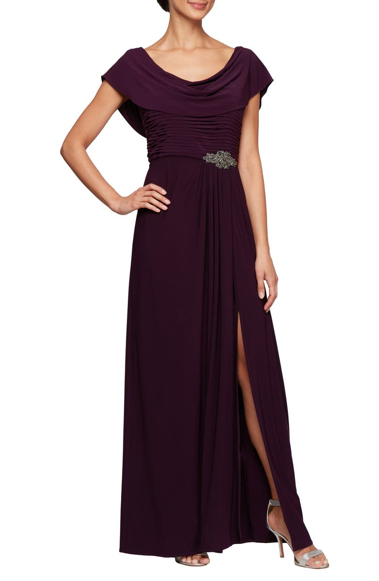 ALEX EVENINGS Cowl Neck Beaded Waist Gown, Main, color, EGGPLANT