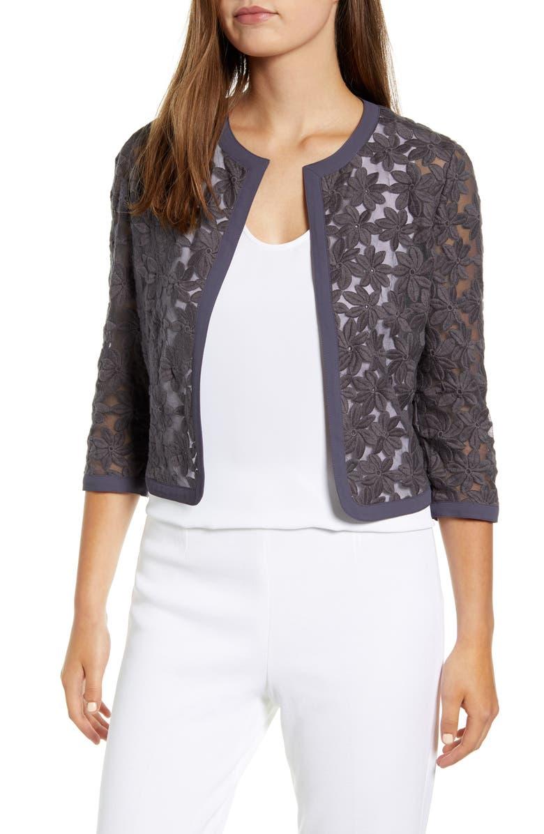 ANNE KLEIN Floral Lace Crop Cardigan, Main, color, 021