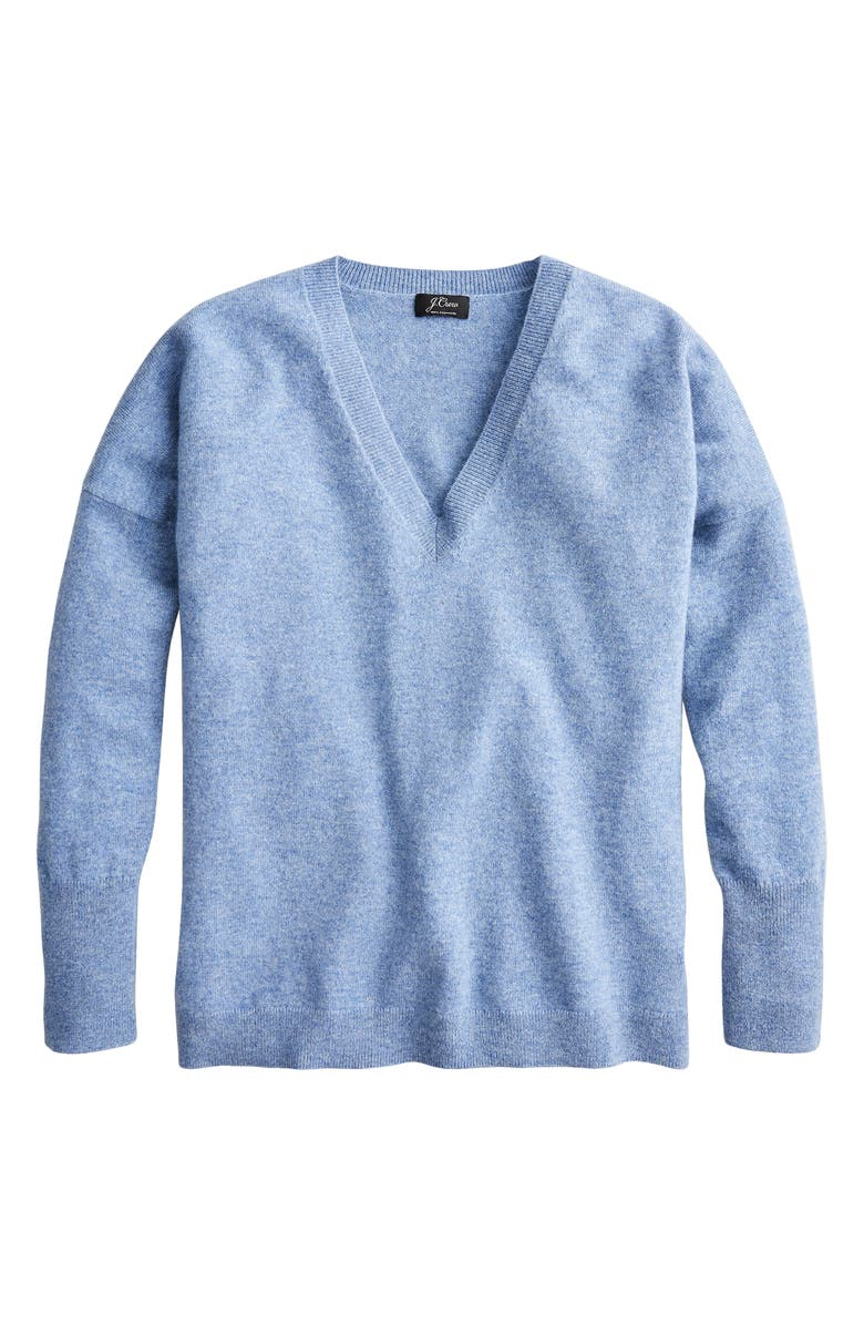 J.CREW V-Neck Boyfriend Cashmere Sweater, Main, color, HEATHER RIVER