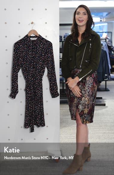 Dory Polka Dot Long Sleeve Stretch Silk Shirtdress, sales video thumbnail