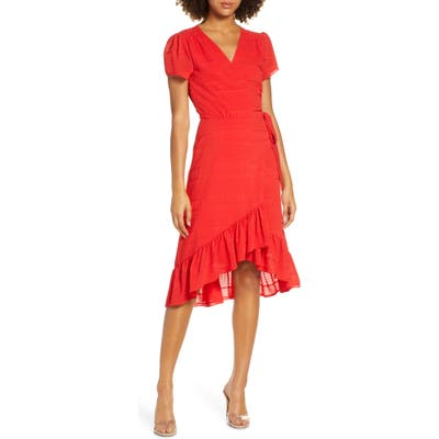 Charles Henry Textured Stripe Chiffon Wrap Dress, Red