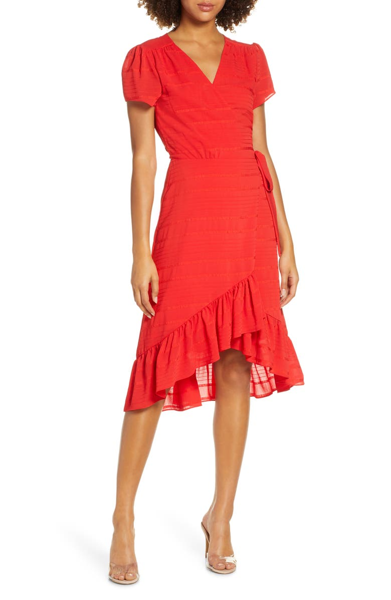 CHARLES HENRY Textured Stripe Chiffon Wrap Dress, Main, color, RED TEXTURED STRIPE