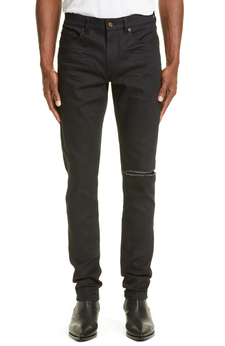 feafd00758f Saint Laurent Ripped Black Skinny Fit Jeans | Nordstrom
