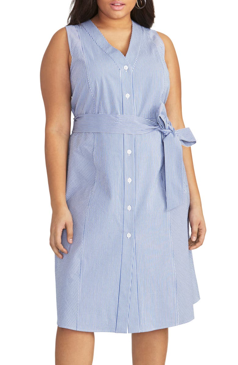 RACHEL RACHEL ROY Sabrina Stripe Shirtdress, Main, color, BLUE/ WHITE COMBO