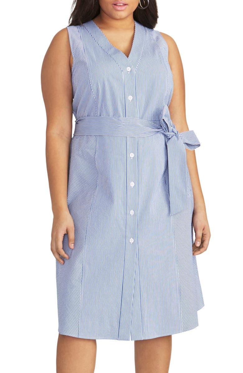RACHEL Rachel Roy Sabrina Stripe Shirtdress Plus Size
