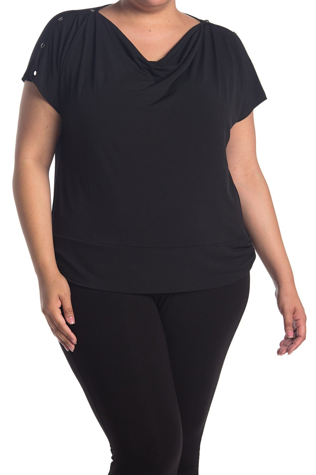 Image of Carmen Marc Valvo Drape Neck Bottom Band Top With Snap Shoulders