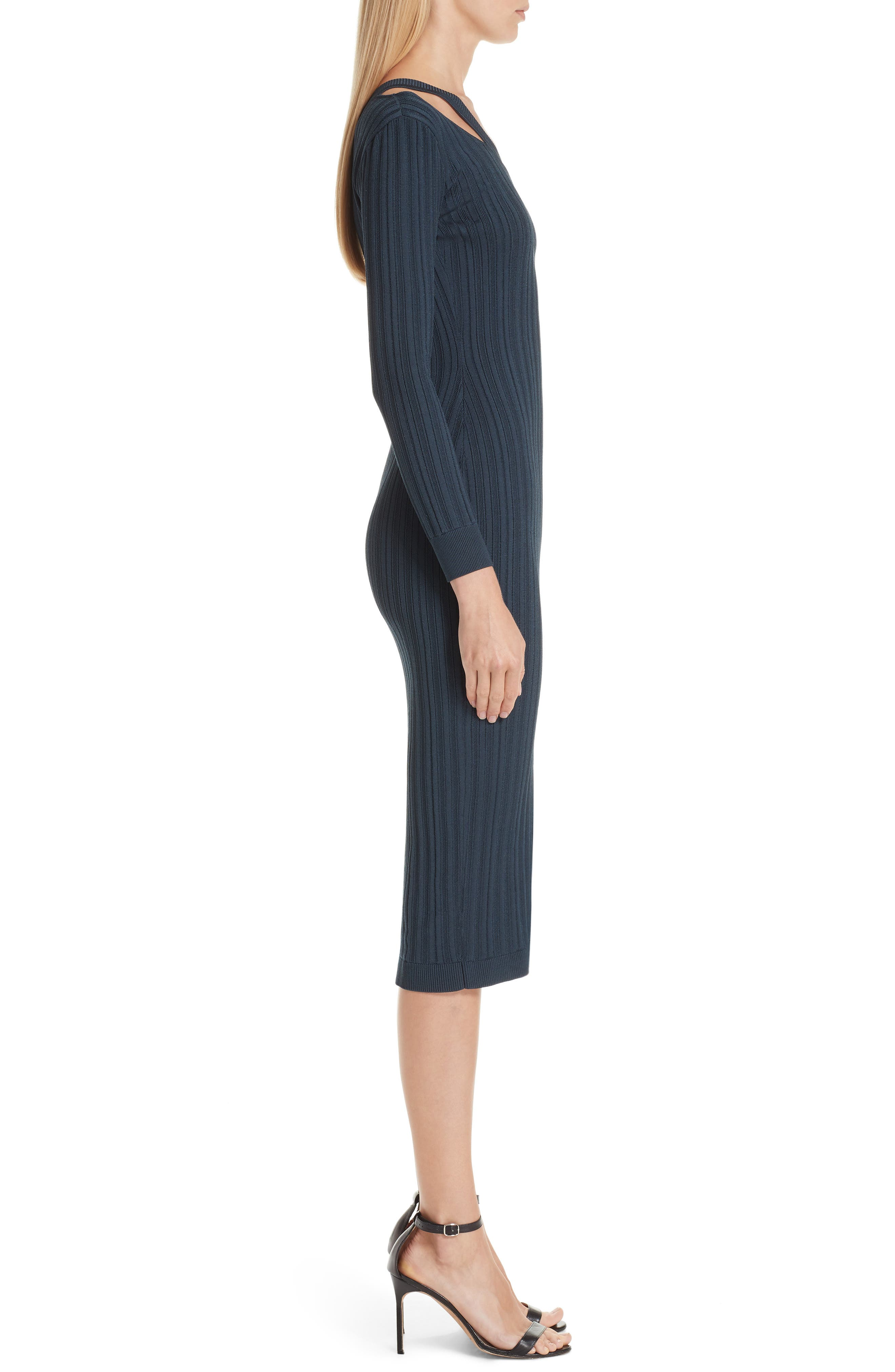 ,                             Knit Cutout Off the Shoulder Dress,                             Alternate thumbnail 4, color,                             NAVY