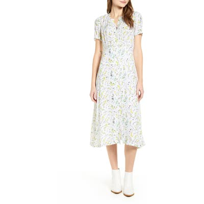 Lucky Brand Penelope Floral Print Midi Dress, White
