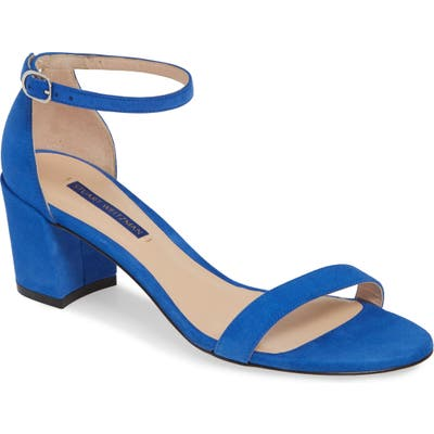 Stuart Weitzman Simple Ankle Strap Sandal- Blue