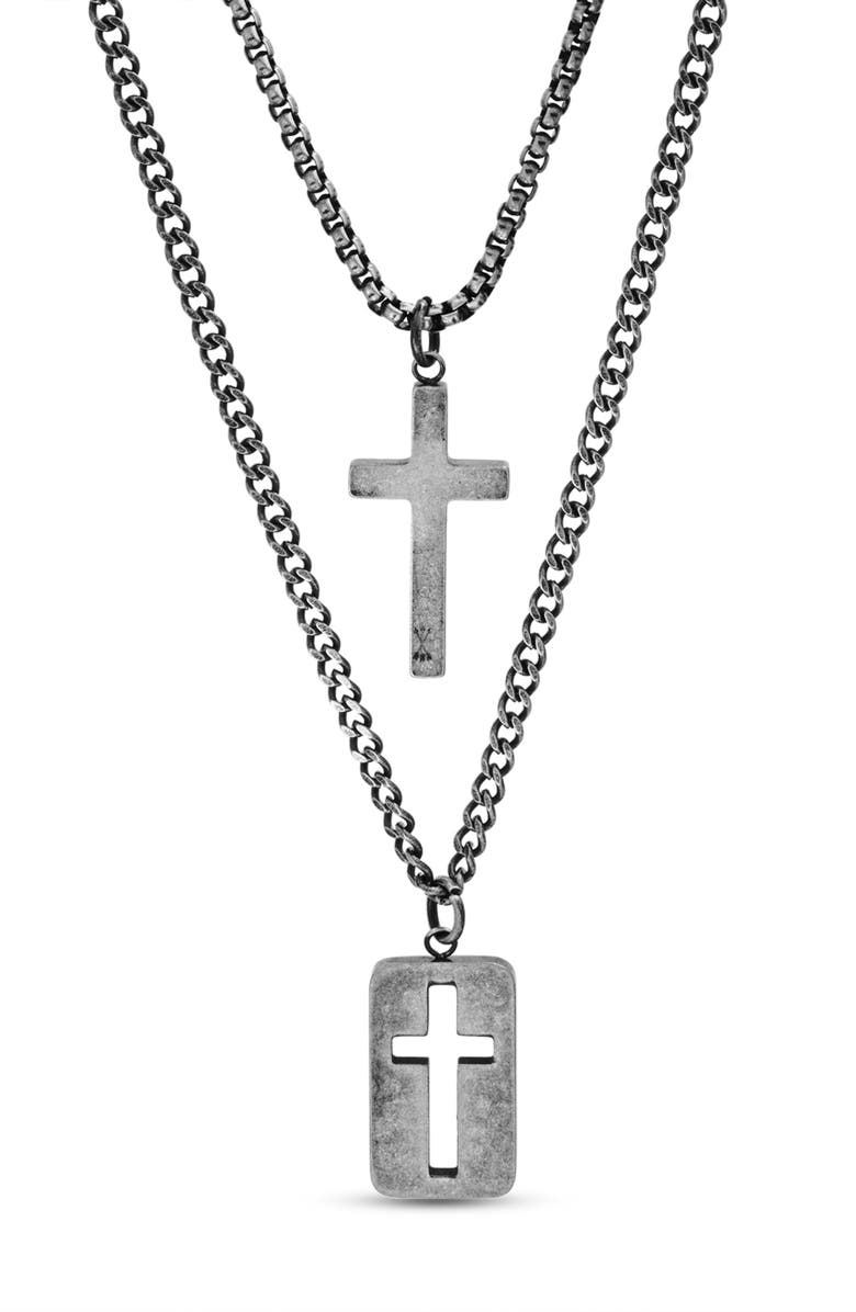 STEVE MADDEN Cross Dog Tag Duo Pendant Necklace, Main, color, METALLIC SILVER