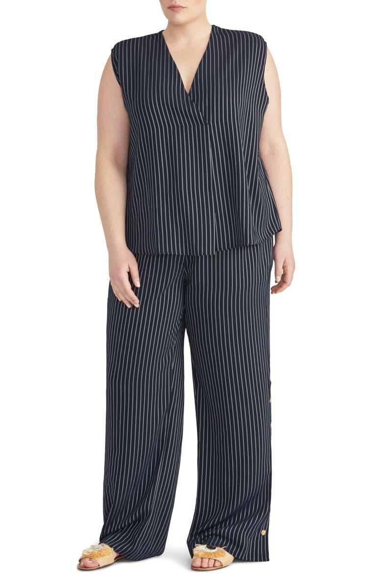 RACHEL ROY COLLECTION Stripe Button Outseam Pants, Main, color, 411
