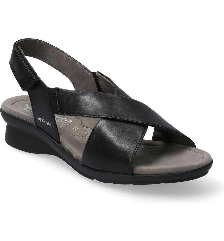 MEPHISTO Phara Wedge Sandal, Main, color, BLACK SMOOTH LEATHER