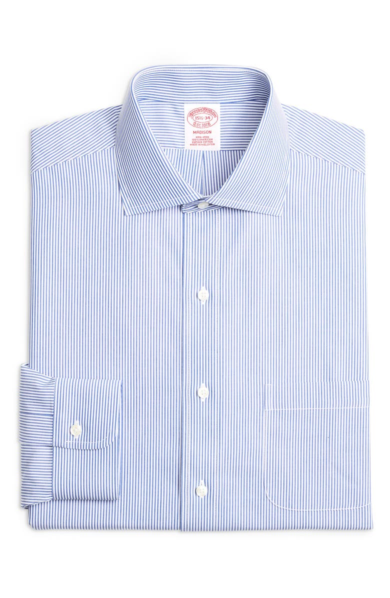 BROOKS BROTHERS Madison Classic Fit Stripe Dress Shirt, Main, color, BLUE