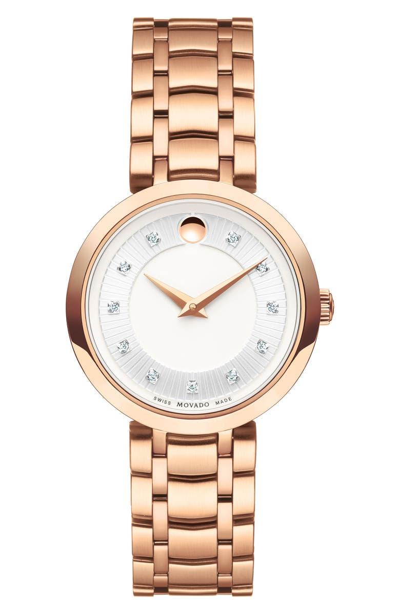 MOVADO 1881 Quartz Diamond Bracelet Watch, 28mm, Main, color, 710