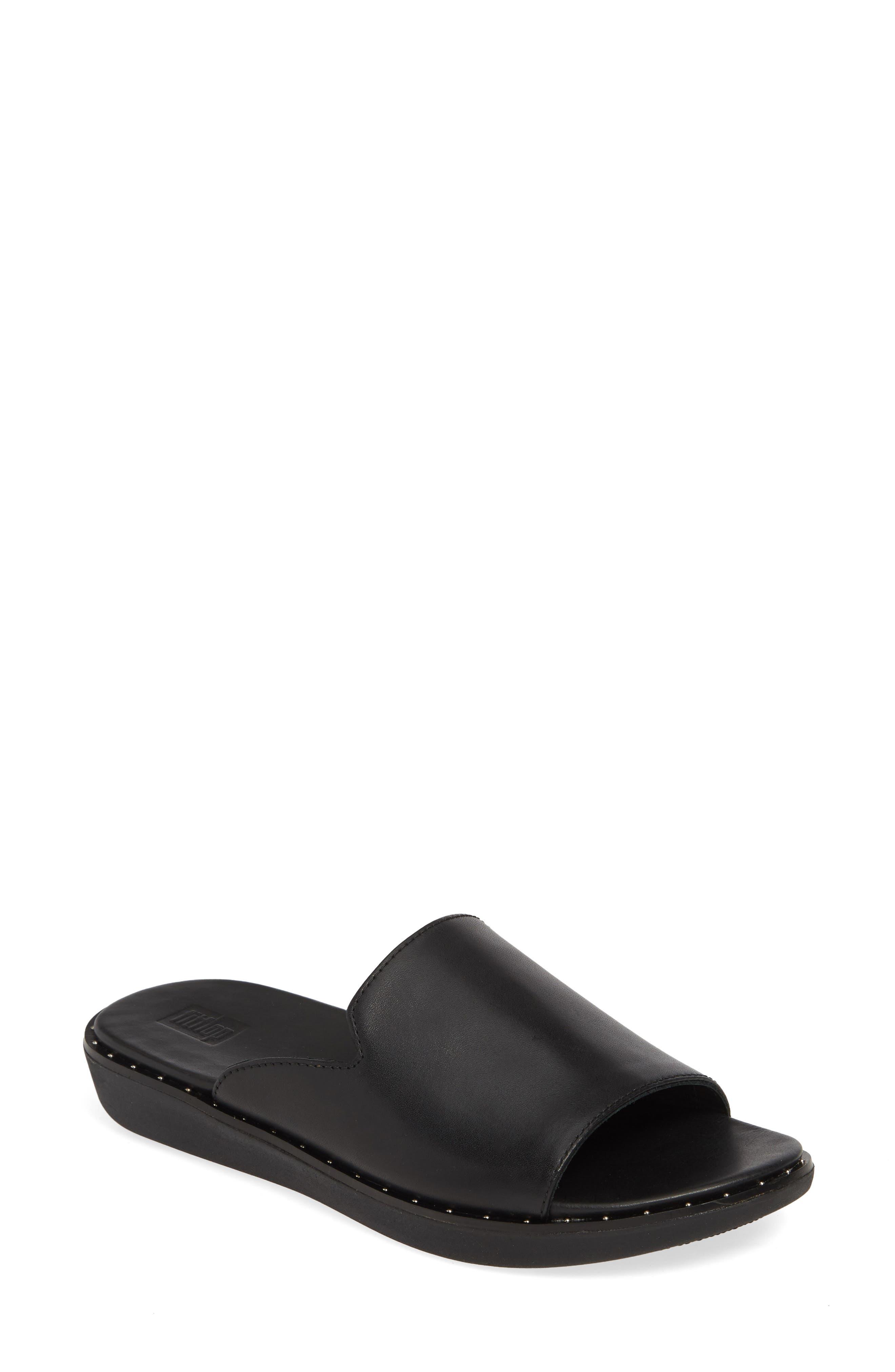,                             Saffi Slide Sandal,                             Main thumbnail 1, color,                             BLACK LEATHER