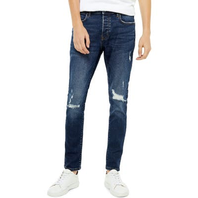 Topman Ripped Slim Fit Jeans, Blue