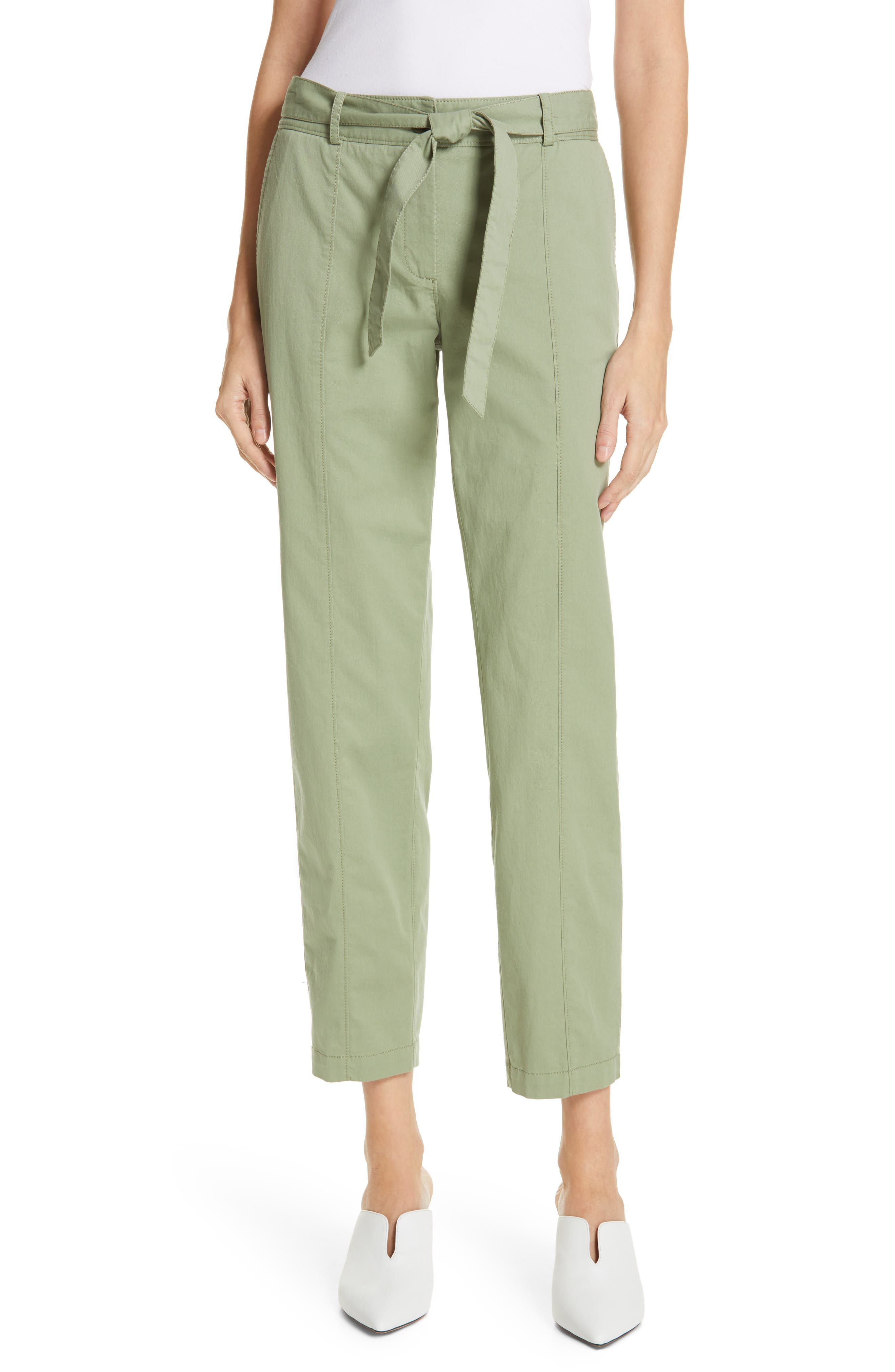 Center Seam Drawstring Stretch Cotton Pants, Main, color, GREEN BASIL
