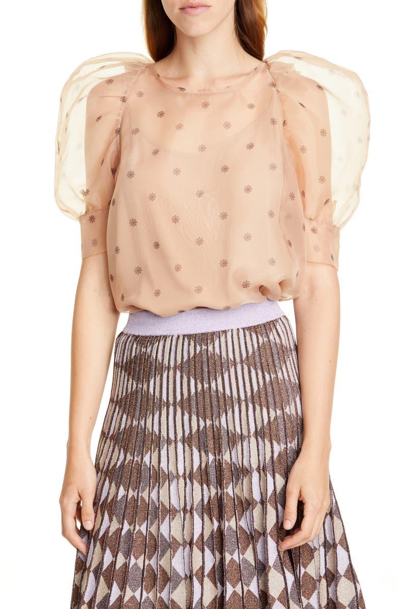 BAUM UND PFERDGARTEN Maiko Sheer Puff Sleeve Blouse, Main, color, PEACH FLOWER