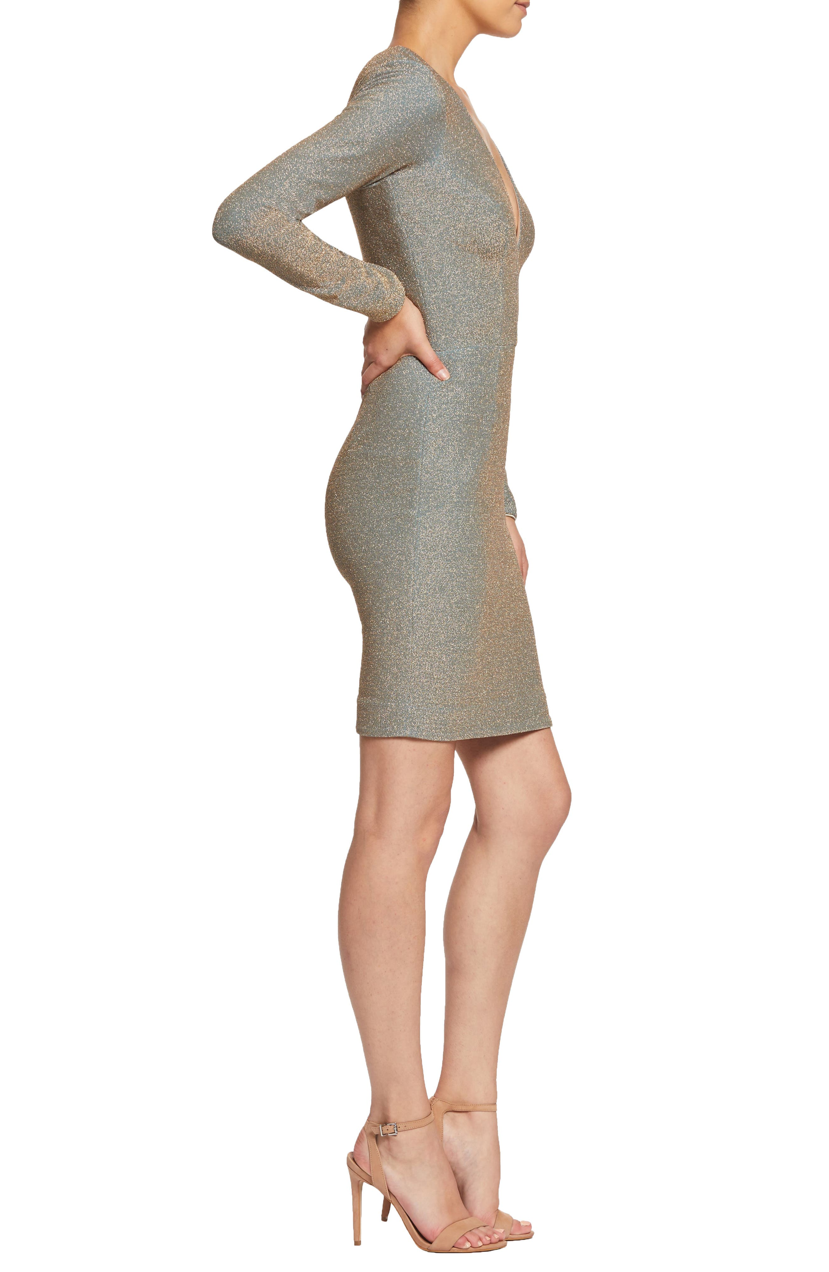 ,                             Riley Plunge Neck Metallic Sheath Dress,                             Alternate thumbnail 11, color,                             710