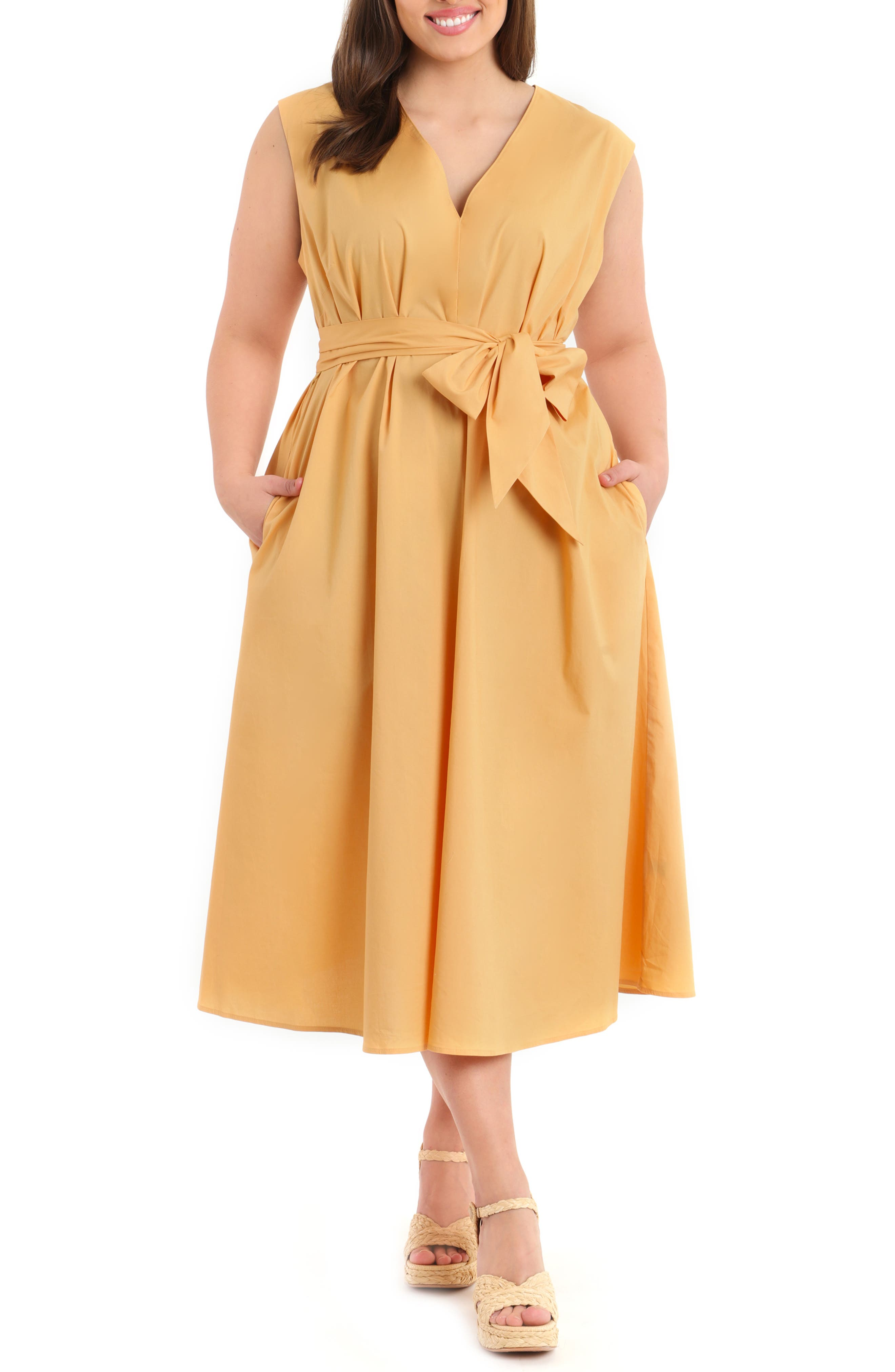 Sleeveless Poplin Midi Dress