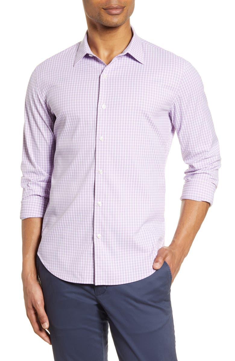 BONOBOS Slim Fit Check Button-Up Performance Shirt, Main, color, HALKIN PLAID REFLECTION VIOLET