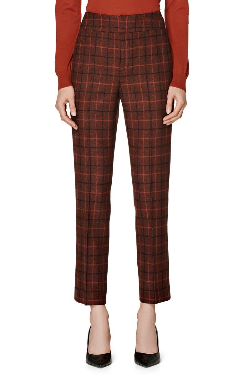 SUISTUDIO Lane Check Wool Pants, Main, color, SIENNA PLAID