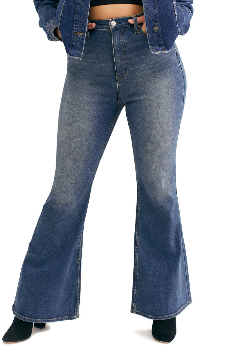 FREE PEOPLE CRVY by Free People Robin High Waist Flare Jeans, Main, color, BLUE
