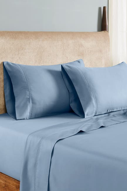 Image of Modern Threads 1000 Thread Count Tri-Blend 6-Piece Sheet Set With Double Hole Hem - Celestial Blue - California King