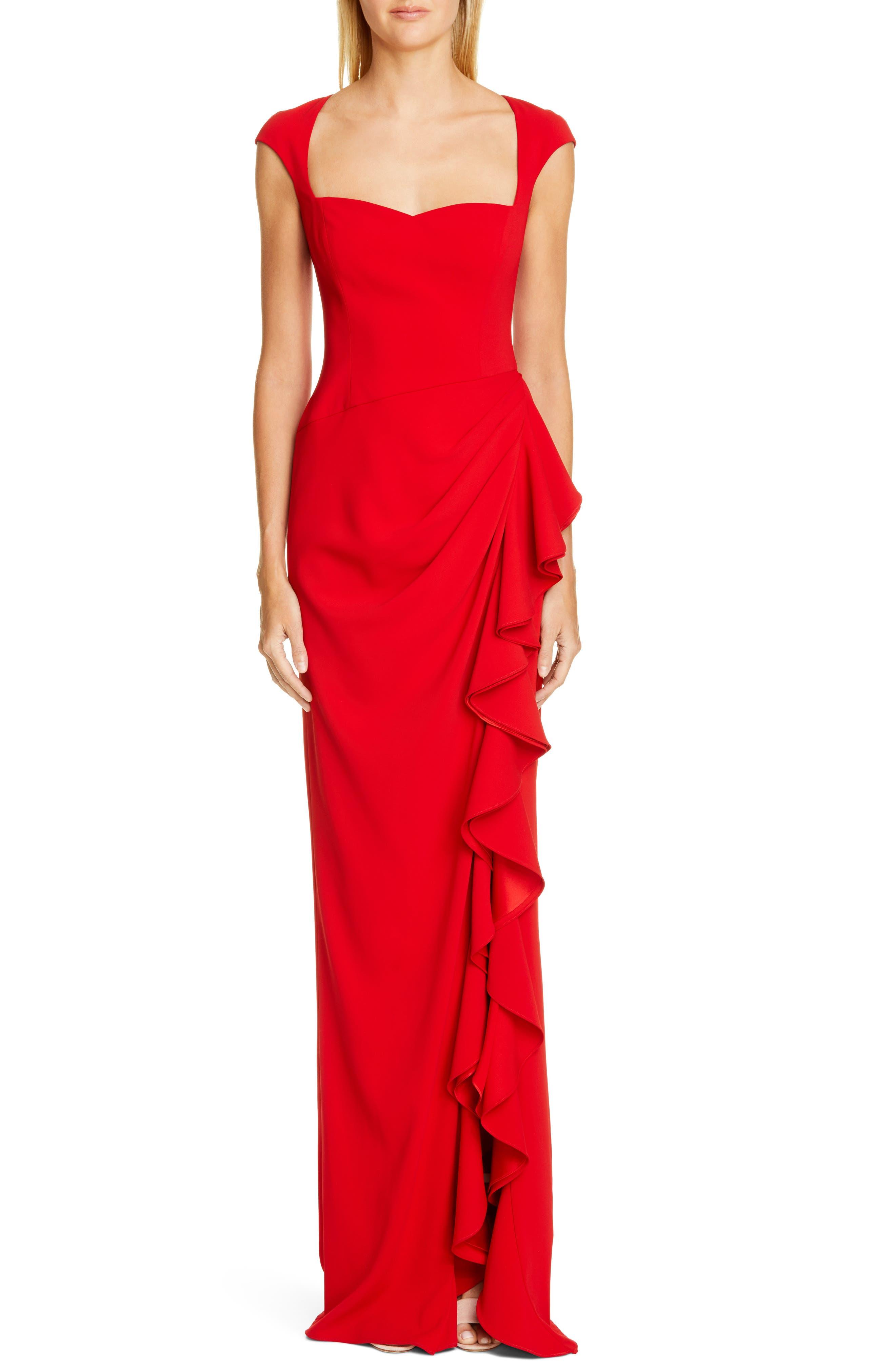 Badgley Mischka Cap Sleeve Ruffle Evening Dress, Red