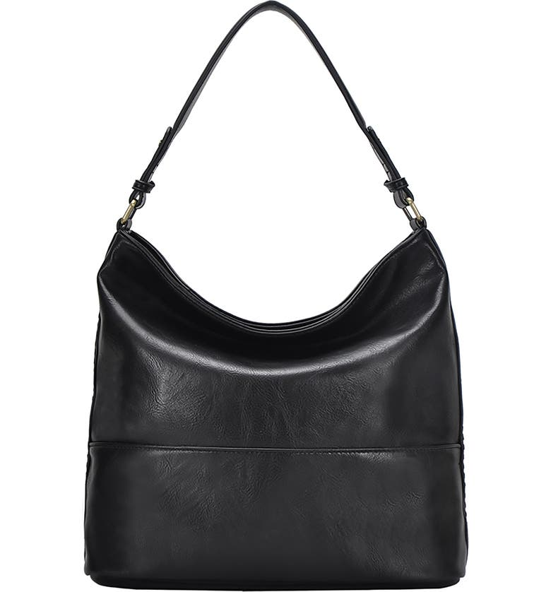 ANTIK KRAFT Woven Detail Faux Leather Hobo, Main, color, BLACK