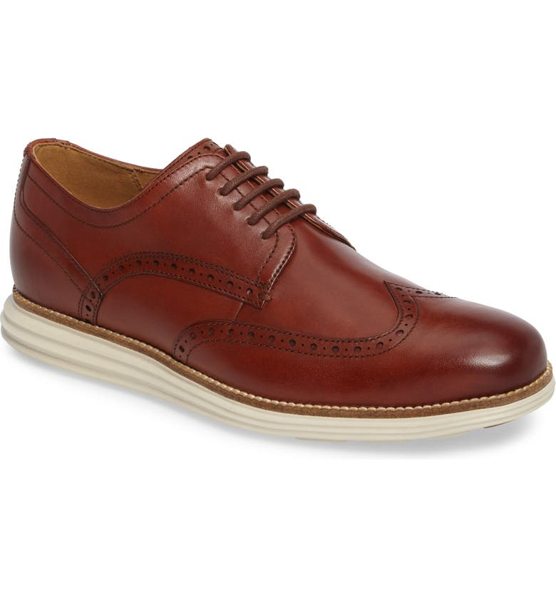 COLE HAAN Original Grand Wingtip Derby, Main, color, WOODBURY / IVORY LEATHER