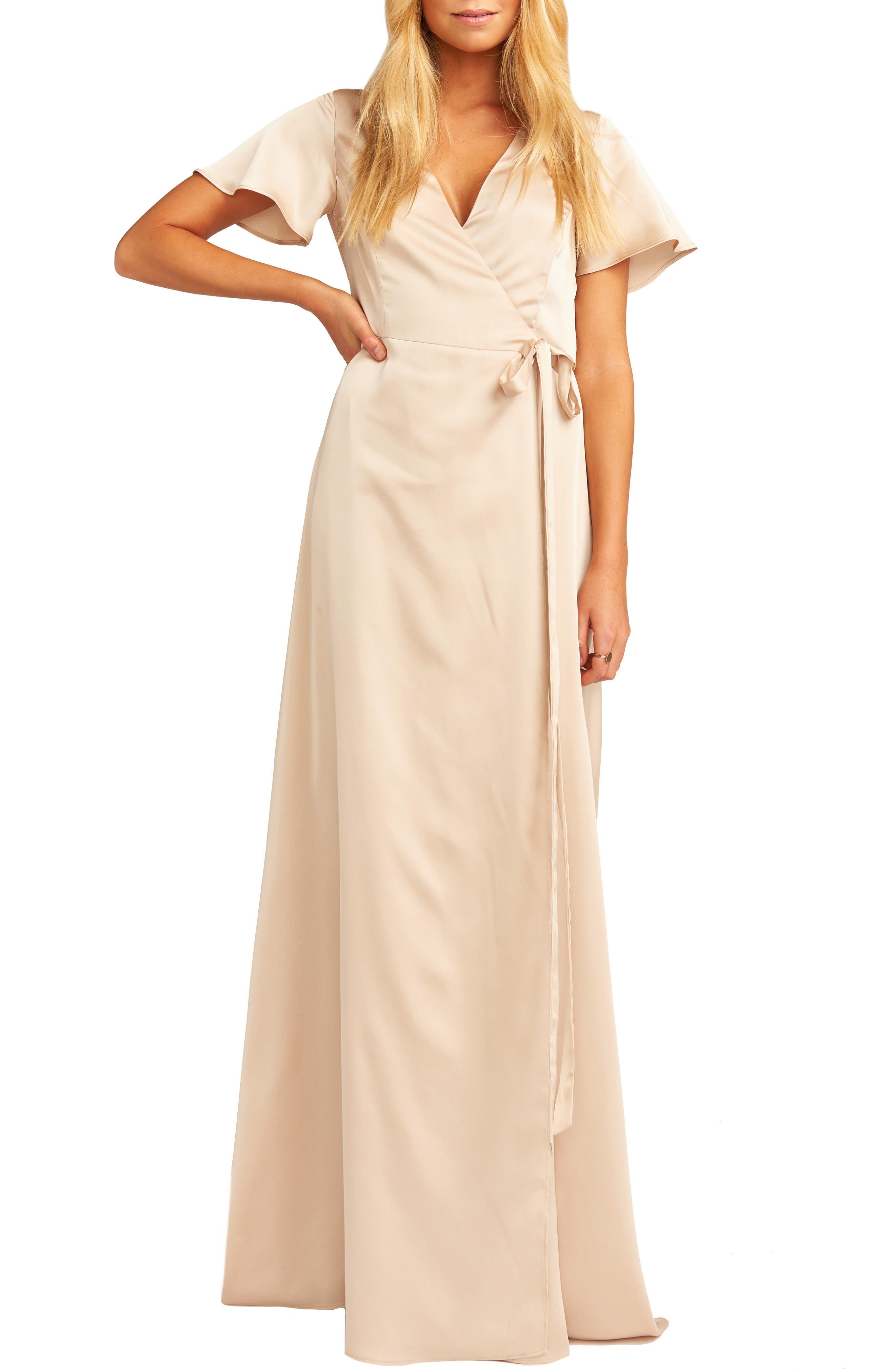 Show Me Your Mumu Noelle Satin Wrap Evening Dress, Beige