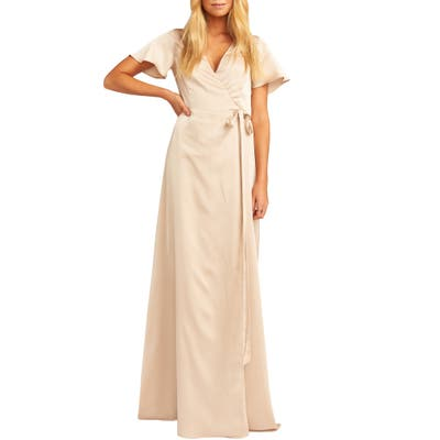Show Me Your Mumu Noelle Satin Wrap Evening Dress